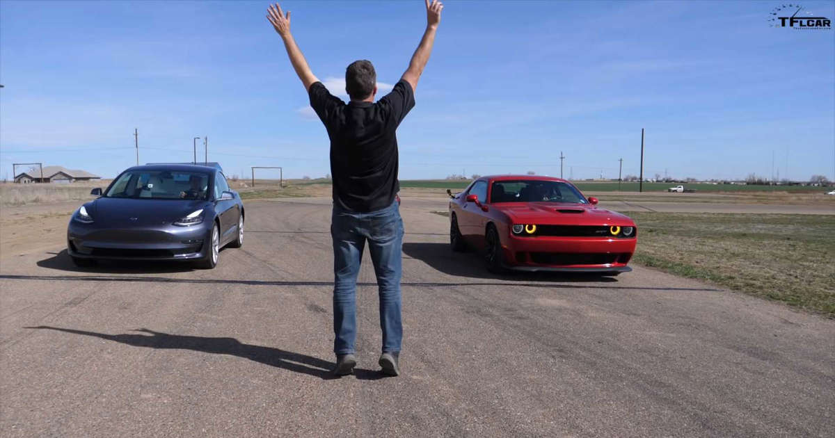 Tesla Model 3 Battles Dodge Hellcat, AMG CLS 53 In Brief Drag Race