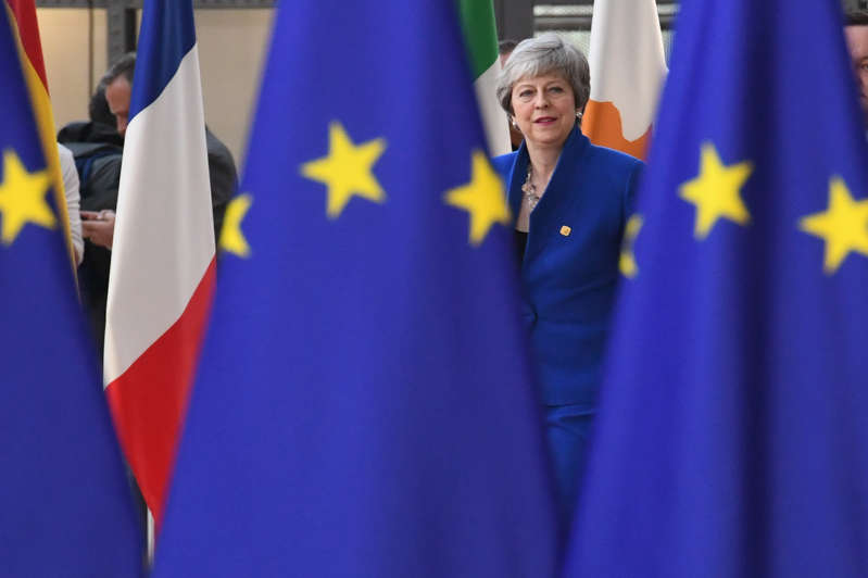 Prime Minister Theresa May arrives at the European Council in Brussels where European Union leaders are meeting to discuss Brexit. (Photo by Stefan Rousseau/PA Images via Getty Images)