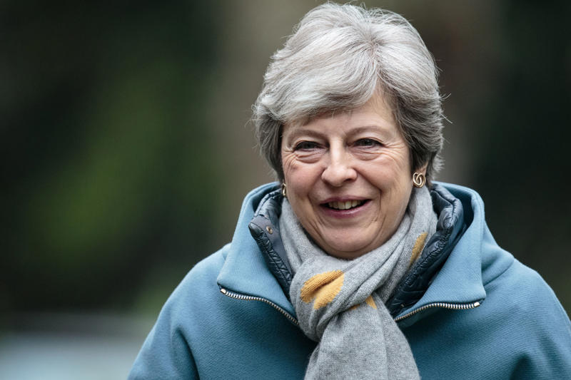 AYLESBURY, ENGLAND - APRIL 07: British Prime Minister Theresa May arrives for a Sunday church service on April 7, 2019 in Aylesbury, England. Mrs May has been criticised by some members of the Conservative party for reaching out to Labour leader Jeremy Corbyn in an attempt to deliver Brexit. (Photo by Jack Taylor/Getty Images)