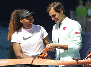 CAPTION: MIAMI GARDENS, FLORIDA - MARCH 20: (from left) Serena Williams of the United States and Roger Federer of Switzerland cut the ribbon during the Ribbon Cutting ceremony on Day 3 of the Miami Open Presented by Itau on March 20, 2019 in Miami Gardens, Florida. (Photo by Michael Reaves/Getty Images)