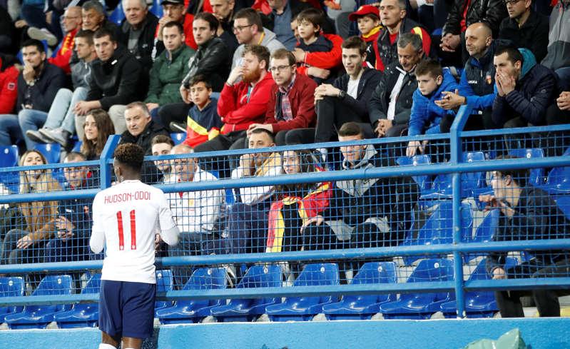 Soccer Football - Euro 2020 Qualifier - Group A - Montenegro v England - Podgorica City Stadium, Podgorica, Montenegro - March 25, 2019  England's Callum Hudson-Odoi and Montenegro fans          Action Images via Reuters/Carl Recine
