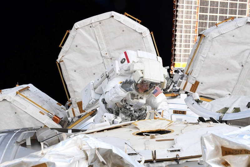 NASA astronaut Anne McClain is seen during a spacewalk at the International Space Station in this social media photo on March 22, 2019.