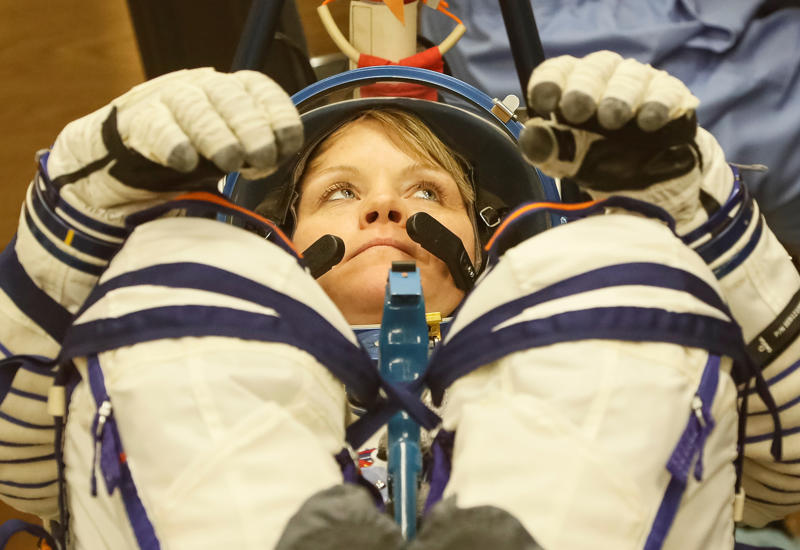 The International Space Station (ISS) crew member Anne McClain of the U.S. looks on during her space suit check shortly before the launch at the Baikonur Cosmodrome, Kazakhstan December 3, 2018.  REUTERS/Shamil Zhumatov
