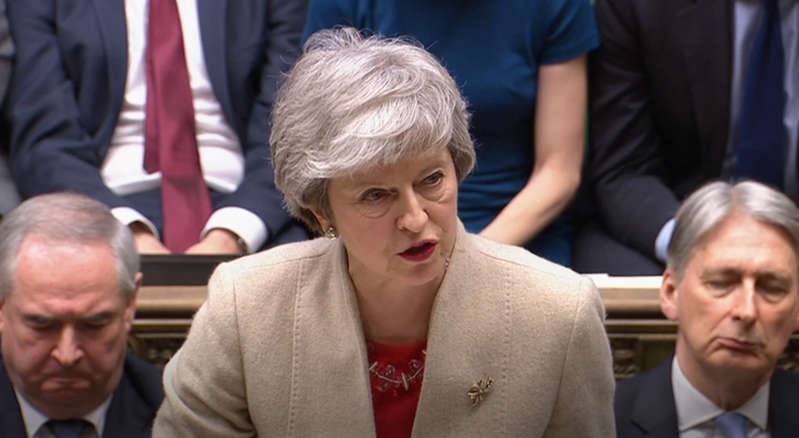 Prime Minister Theresa May speaks after the government's withdrawal agreement was voted down for the third time in the House of Commons. (Photo by House of Commons/PA Images via Getty Images)