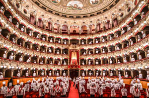CATANIA, ITALY - 01 April 2019: At theatre Vincenzo Bellini 'Cibo Nostrum 2019', the second day of the great feast of Italian cuisine to celebrate the culture of food and wine on April 01, 2019 in Catania, Italy. Organized by the Italian Cooks Federation, the 30th National Congress is held in Catania on 31 March, 1, 2 April 2019. (Photo by Fabrizio Villa/Getty Images)