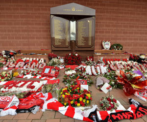 A wreath paying tribute to victims of the Hillsborough disaster at the Hillsborough Memorial at Anfield