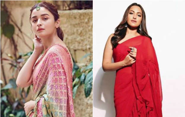 49f885dd05e From Shilpa s White Floral Saree To Sonakshi s Red Ruffled Saree  Here Is Your  Summer Saree Inspiration