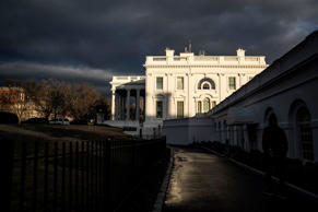 WASHINGTON, DC - JANUARY 24 : Clouds are seen over the White House on the 34th day of the partial government shutdown, the longest in US history, in the Cabinet Room at the White House on Thursday, Jan. 24, 2019 in Washington, DC. (Photo by Jabin Botsford/The Washington Post via Getty Images)