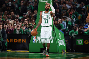 BOSTON, MA - APRIL 17: Kyrie Irving #11 of the Boston Celtics sets up the offense against the Indiana Pacers  in Game Two of Round One of the 2019 NBA Playoffs against the Boston Celtics on April 17, 2019 at the TD Garden in Boston, Massachusetts.  NOTE TO USER: User expressly acknowledges and agrees that, by downloading and or using this photograph, User is consenting to the terms and conditions of the Getty Images License Agreement. Mandatory Copyright Notice: Copyright 2019 NBAE  (Photo by Brian Babineau/NBAE via Getty Images)