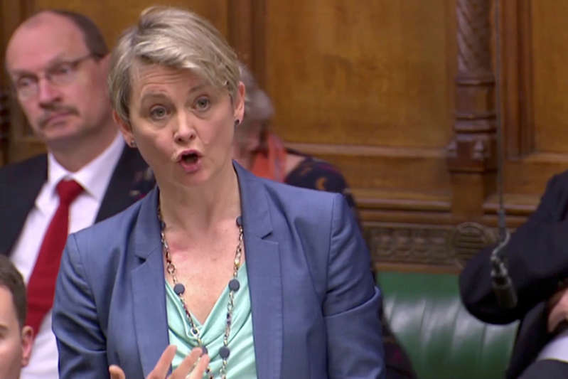 Britain's Labour MP Yvette Cooper  speaks in the Parliament in London, Britain April 3, 2019, in this screen grab taken from video. Reuters TV via REUTERS