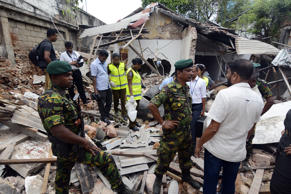 A view of blast site near the Dehiwala zoo, near Colombo, on April 21.-
