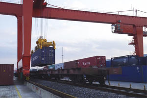 ANHUI, CHINA - NOVEMBER 08: (CHINA MAINLAND OUT)The first train carried 86 standard containers leaves Hefei to Finland's capital Helsinki on 08 November 2018 in Hefei,Anhui, China.(Photo by TPG/Getty Images)