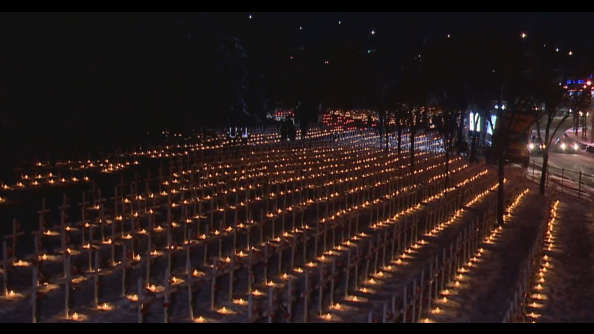 Calgary's Field of Crosses illuminated by thousands of candles ...