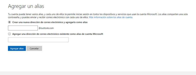 Cómo crear un alias en Hotmail/Outlook
