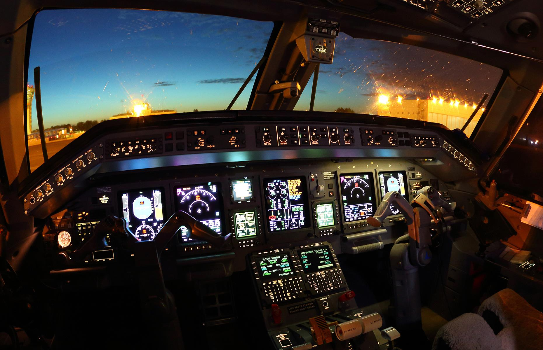"""Slide 43 of 63: Pete says, """"An entire flight could be operated by auto-pilot, but pilots usually perform manual take-offs and landings. An aircraft can be landed automatically all the way to a complete stop on the runway. In the UK, the first autonomous airliner is being tested so in the future we could see pilot-less airliners."""" But Jonny notes: """"Autopilot won't replace a pilot in commercial aviation because it can't problem solve in an emergency. For that you need a well-trained pilot."""""""
