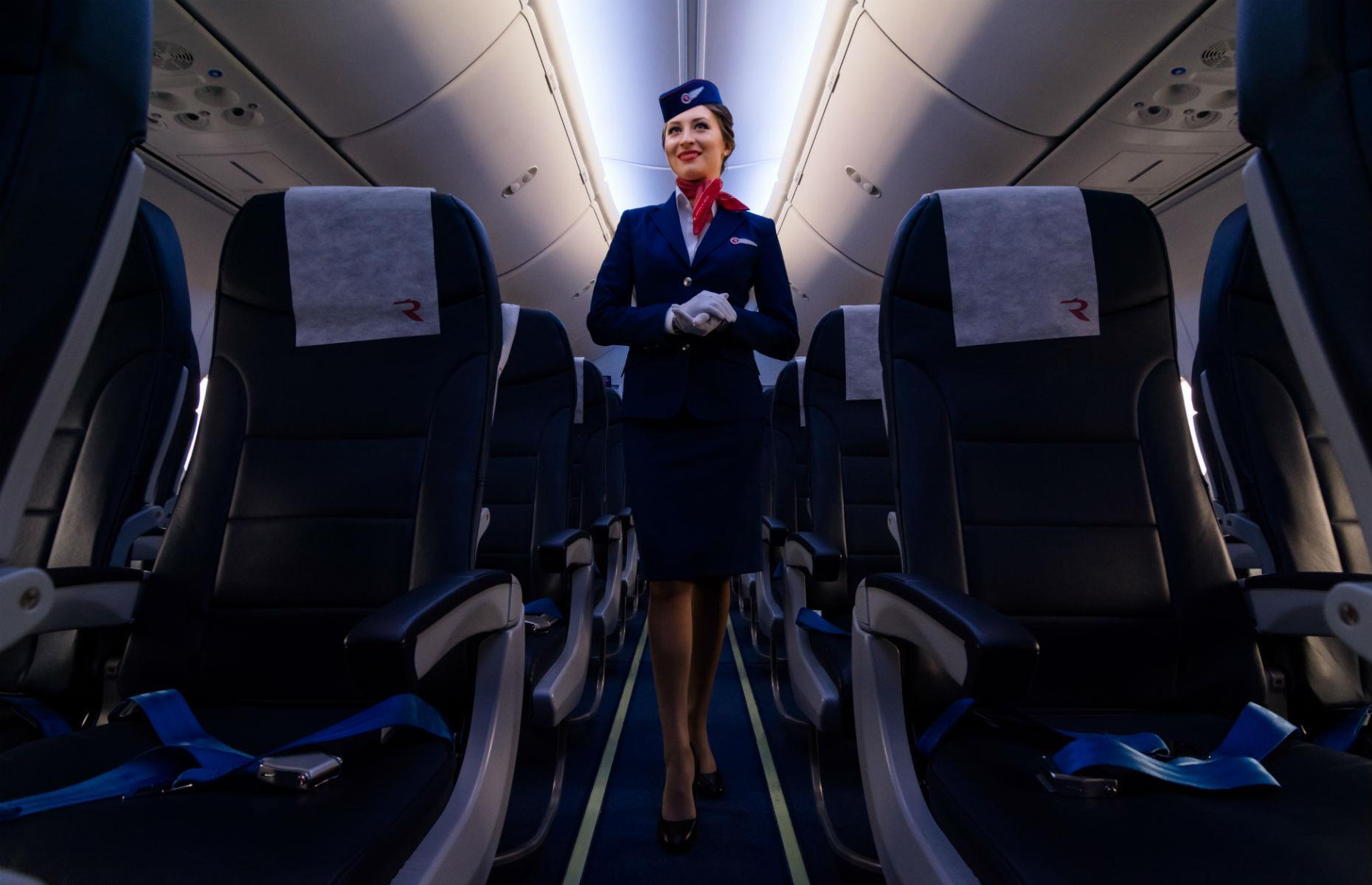 Slide 55 of 63: In the UK, the main requirements to become a flight attendant are GCSEs, the ability to swim, a passport and clearance from the Disclosure and Barring Service (DBS). It's not just about serving food and drinks – flight attendants need to be aware of safety issues and deal with problems with a calm head. On average, it takes around eight weeks of training, which some airlines pay for if you get a job with them.