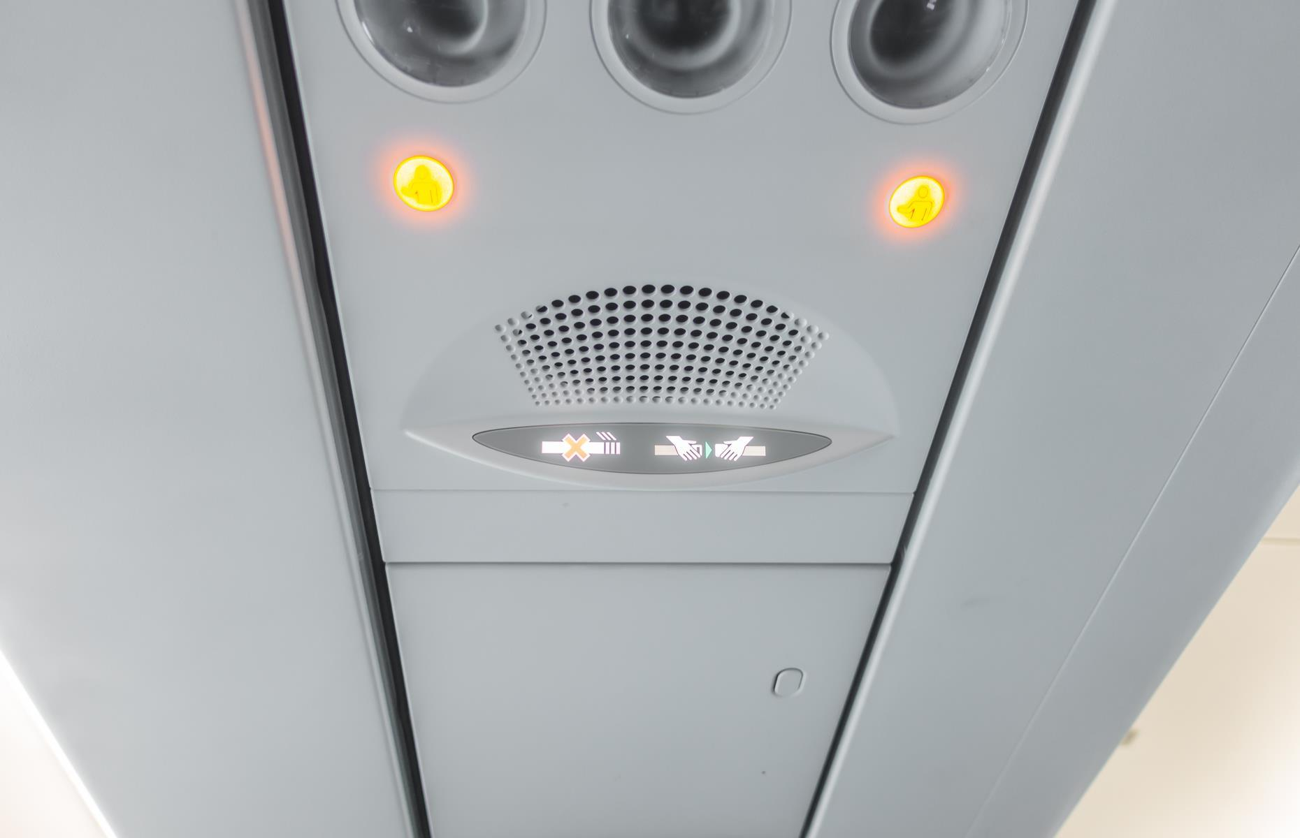 """Slide 20 of 63: """"The lights should always go out before take-off or landing if it's dark outside. The cabin needs to reflect the exterior environment so your eyes don't need to adjust in an emergency situation,"""" says Mandy Smith, former Virgin Atlantic air hostess and author ofCabin Fever,a behind-the-scenes account of being an air hostess.  Discover more amazing facts about the world of travel here"""