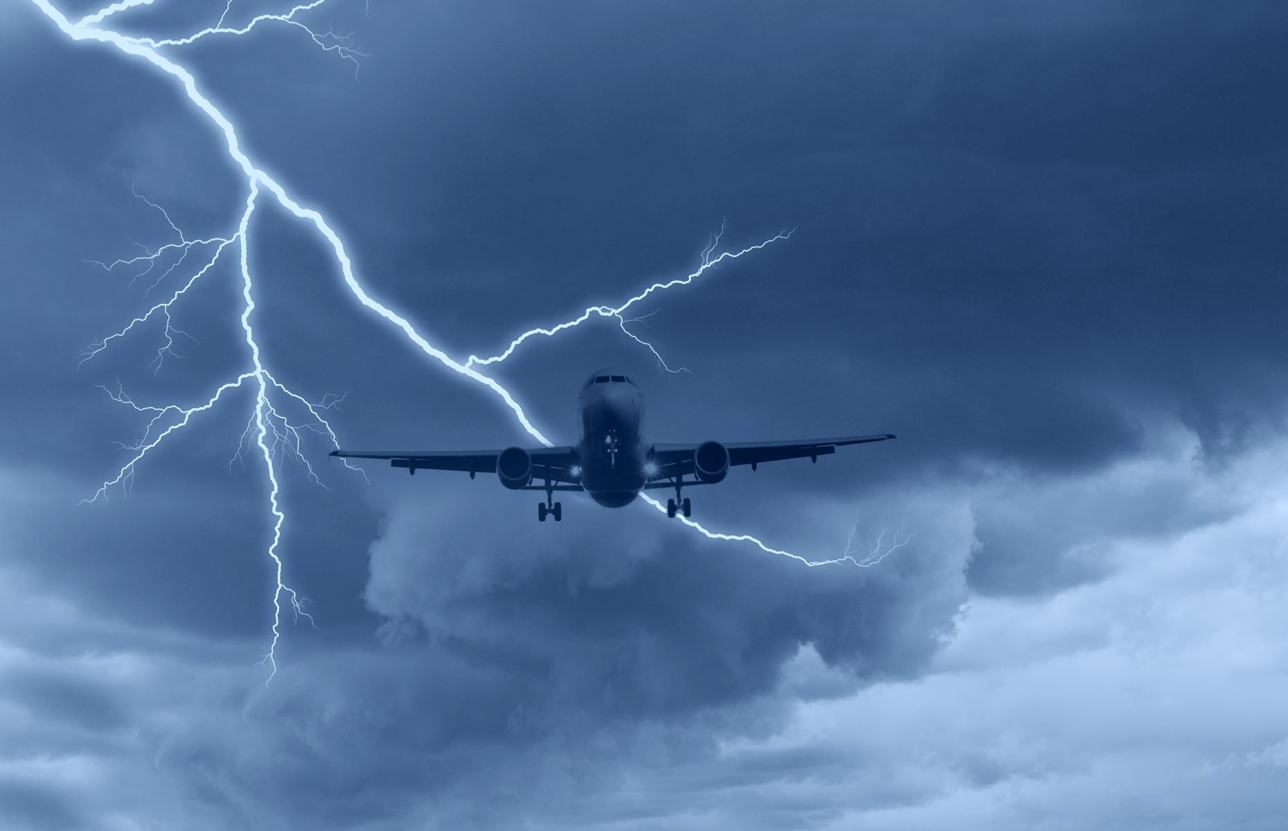"""Slide 26 of 63: """"Typically, a bolt will hit an extremity, such as a wing tip or the nose, and the current will travel through the plane's metal shell before leaving from another point, the tail, for example,"""" explains Jonny. """"Once in a while there's superficial exterior damage or minor injury to the plane's electrical systems, but a strike typically leaves little or no evidence. In fact, you might not even notice it."""""""