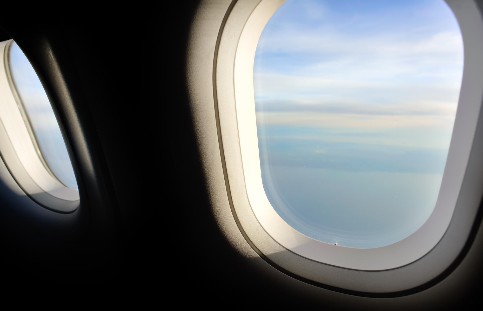 """Slide 44 of 63: Aircraft windows are made in layers.Surf Air's COO explains: """"[There's] aglass window on the outside, an air gap, another glass window in the middle (with a little hole) and another layer usually made of plastic, which stops passengers scratching windows. The hole is an important safety feature which allows the cabin pressure to be consistent all the way to the outer window. If the outside window failed, the middle window would still be sufficient enough to maintain the cabin pressure, even with the tiny hole."""""""