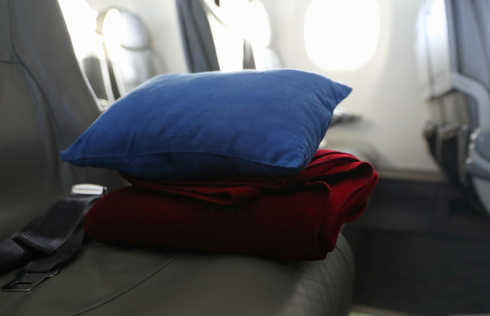 Slide 53 of 63: Apart from the obvious ones, such as seatbelts and oxygen masks, a plane is always fitted with nifty safety features. The cushions and blankets are flame-retardant and self-extinguishing, and there are lights close to the floor in case there's a fire and you need to see while you crawl to safety. As for your plane, twin-engine jets are designed to operate safely even if one engine fails.