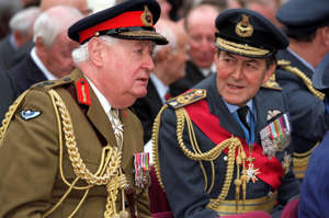 Field Marshal Lord Bramall (L) and Marshal of the Royal Air Force Sir Michael Beetham at the unveiling of the statue to Polish wartime leader Wladyslaw Sikorski, outside the Polish Embassy in London. * General Sikorski was the Prime Minister of Poland and Commander in Chief of its armed forces until he died in a plane crash off Gibralter in July 1943.