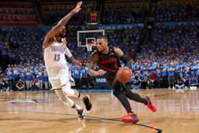 OKLAHOMA CITY, OK - APRIL 21: Damian Lillard #0 of the Portland Trail Blazers drives to the basket against the Oklahoma City Thunder during Game Four of Round One of the 2019 NBA Playoffs on April 21, 2019 at Chesapeake Energy Arena in Oklahoma City, Oklahoma. NOTE TO USER: User expressly acknowledges and agrees that, by downloading and/or using this photograph, user is consenting to the terms and conditions of the Getty Images License Agreement. Mandatory Copyright Notice: Copyright 2019 NBAE (Photo by Joe Murphy/NBAE via Getty Images)