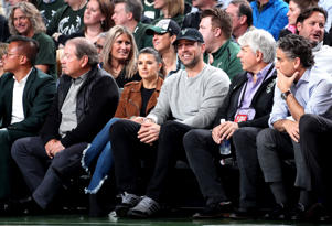 Danica Patrick and Aaron Rodgers attend Game Two of Round One of the 2019 NBA Playoffs between the Detroit Pistons and the Milwaukee Bucks on April 17, 2019 at the Fiserv Forum in Milwaukee, Wisconsin. NOTE TO USER: User expressly acknowledges and agrees that, by downloading and/or using this photograph, user is consenting to the terms and conditions of the Getty Images License Agreement. Mandatory Copyright Notice: Copyright 2019 NBAE (Photo by Nathaniel S. Butler/NBAE via Getty Images)