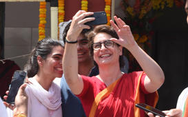 AMETHI, INDIA - APRIL 10: Congress general secretary for eastern Uttar Pradesh Priyanka Gandhi takes selfies after Congress President Rahul Gandhi filed his nomination papers for the upcoming Lok Sabha elections, on April 10, 2019 in Amethi, India. Rahul Gandhi on Wednesday filed his nomination papers for the Lok Sabha elections from his traditional stronghold of Uttar Pradeshs Amethi. Apart from Amethi, the Rahul Gandhi will also contest from the second seat in Keralas Wayanad in the Lok Sabha election, which will begin on Thursday, a decision which has invited criticism from the Bharatiya Janata Party and the Communist Party of India(Marxist) or CPI(M). (Photo by Subhankar Chakraborty/Hindustan Times via Getty Images)