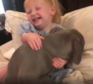 Baby girl can't stop hugging her puppy, and we can see why