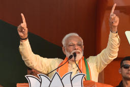 KOLKATA, INDIA - APRIL 24: Prime Minister Narendra Modi during a public rally at Taherpur in Ranaghat, Nadia district of West Bengal, on April 24, 2019 in Kolkata, India. Modi took a sharp jibe at West Bengal Chief Minister Mamata Banerjee, saying the PM's post is not up for auction that it can be bought with the money looted from 'Narada, Saradha' scams. (Photo by Samir Jana/Hindustan Times via Getty Images)