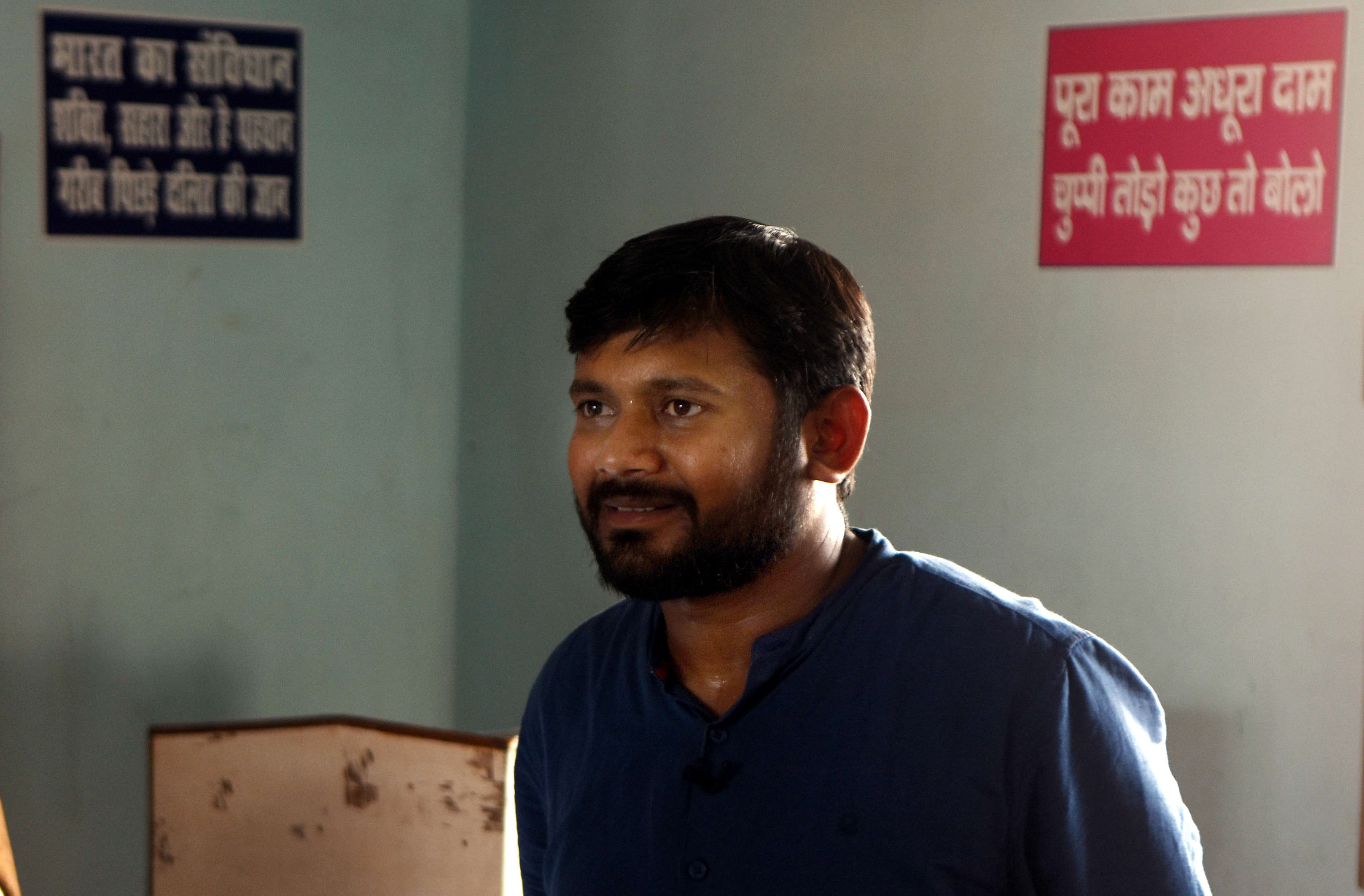 Slide 29 of 31: BEGUSARAI, INDIA - MARCH 31: Former president of the Jawaharlal Nehru University Students Union (JNUSU) and CPI candidate from Begusarai Kanhaiya Kumar seen at his party office on March 31, 2019 in Begusarai, India. (Photo by Parwaz Khan/Hindustan Times via Getty Images)