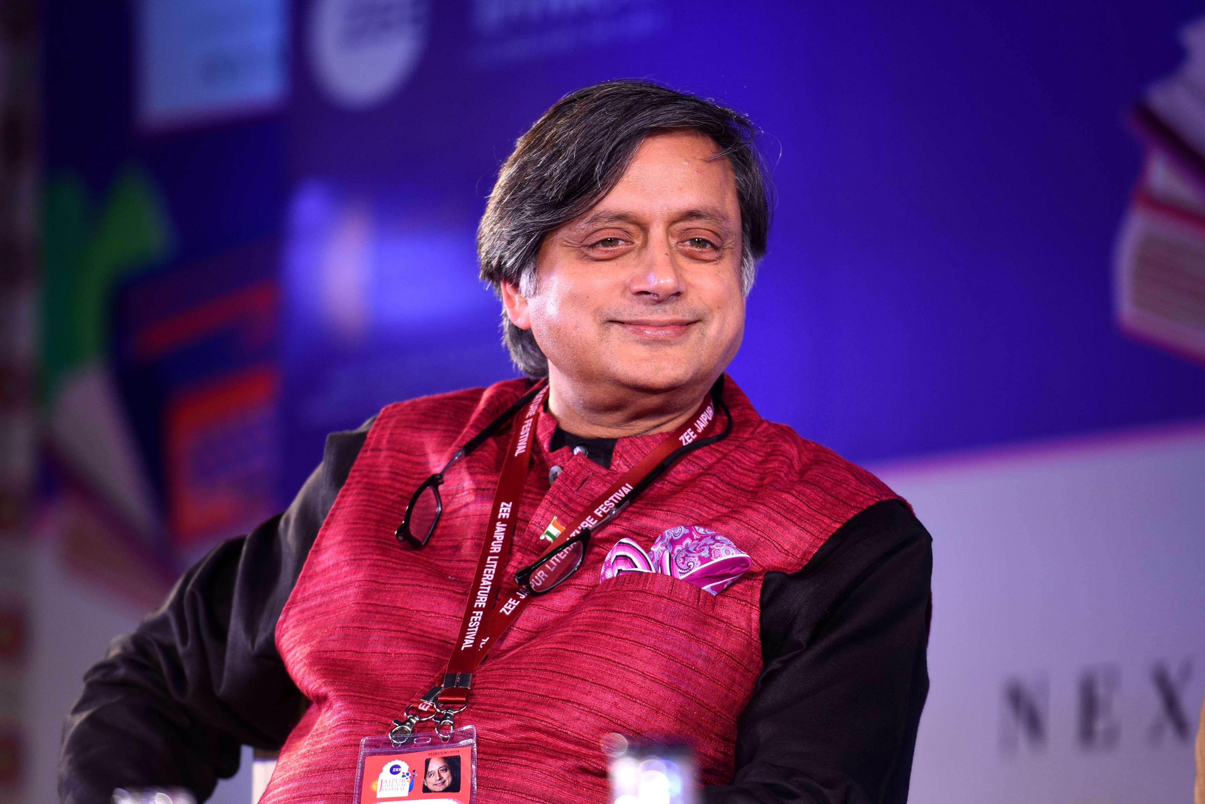 Slide 9 of 31: JAIPUR, INDIA - JANUARY 25: Shashi Tharoor during Jeremy Paxman on The English session at ZEE Jaipur Literature Festival 2019 at Diggi Palace on January 25, 2019 in Jaipur, India. (Photo by Amal KS/Hindustan Times via Getty Images)