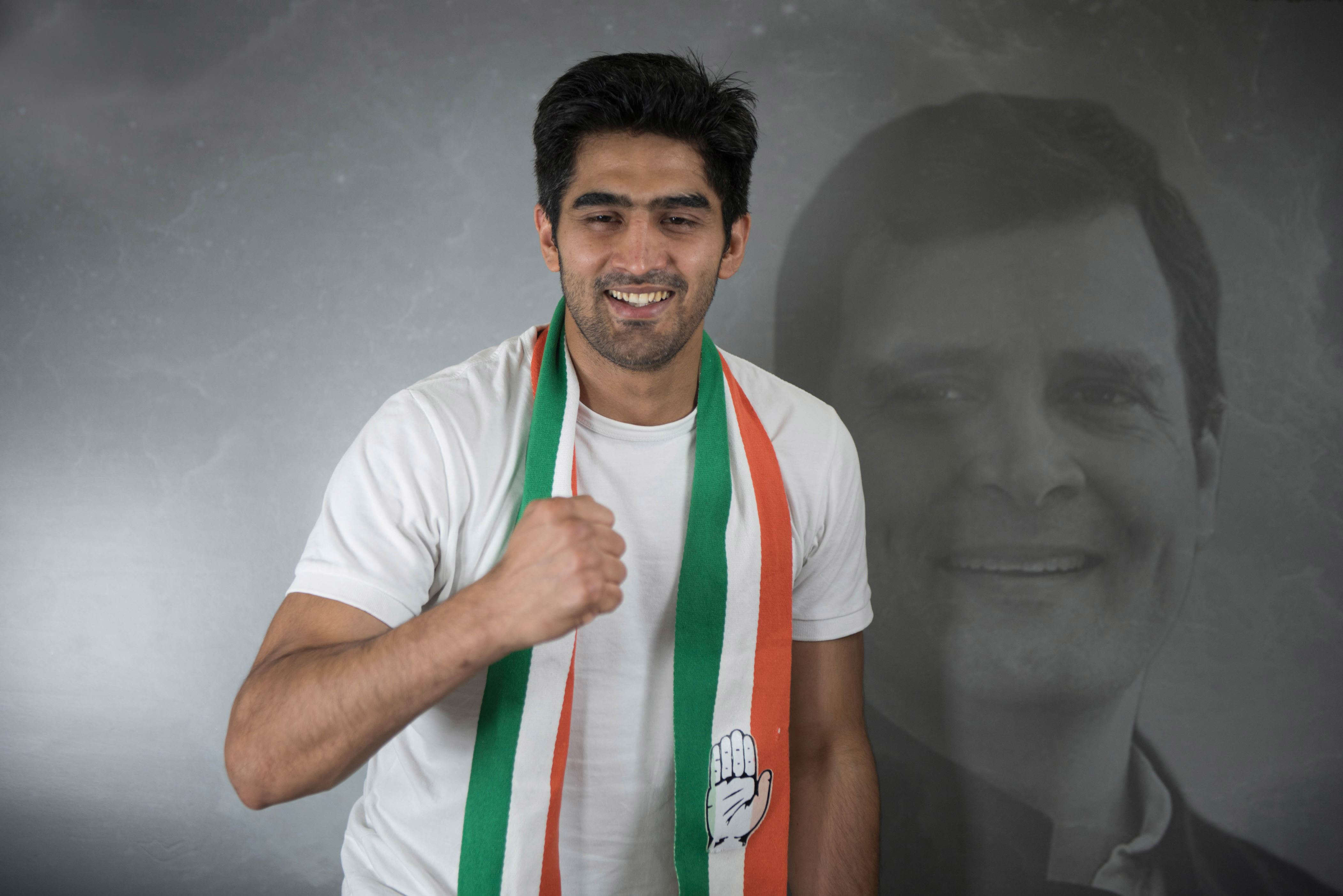 Slide 20 of 31: NEW DELHI, INDIA - APRIL 24: Vijender Singh, Congress candidate from South Delhi for Lok Sabha elections arrives for a Facebook Live session at Youth Congress Office, Raisina Road, on April 24, 2019 in New Delhi, India. (Photo by Sanchit Khanna/Hindustan Times via Getty Images)