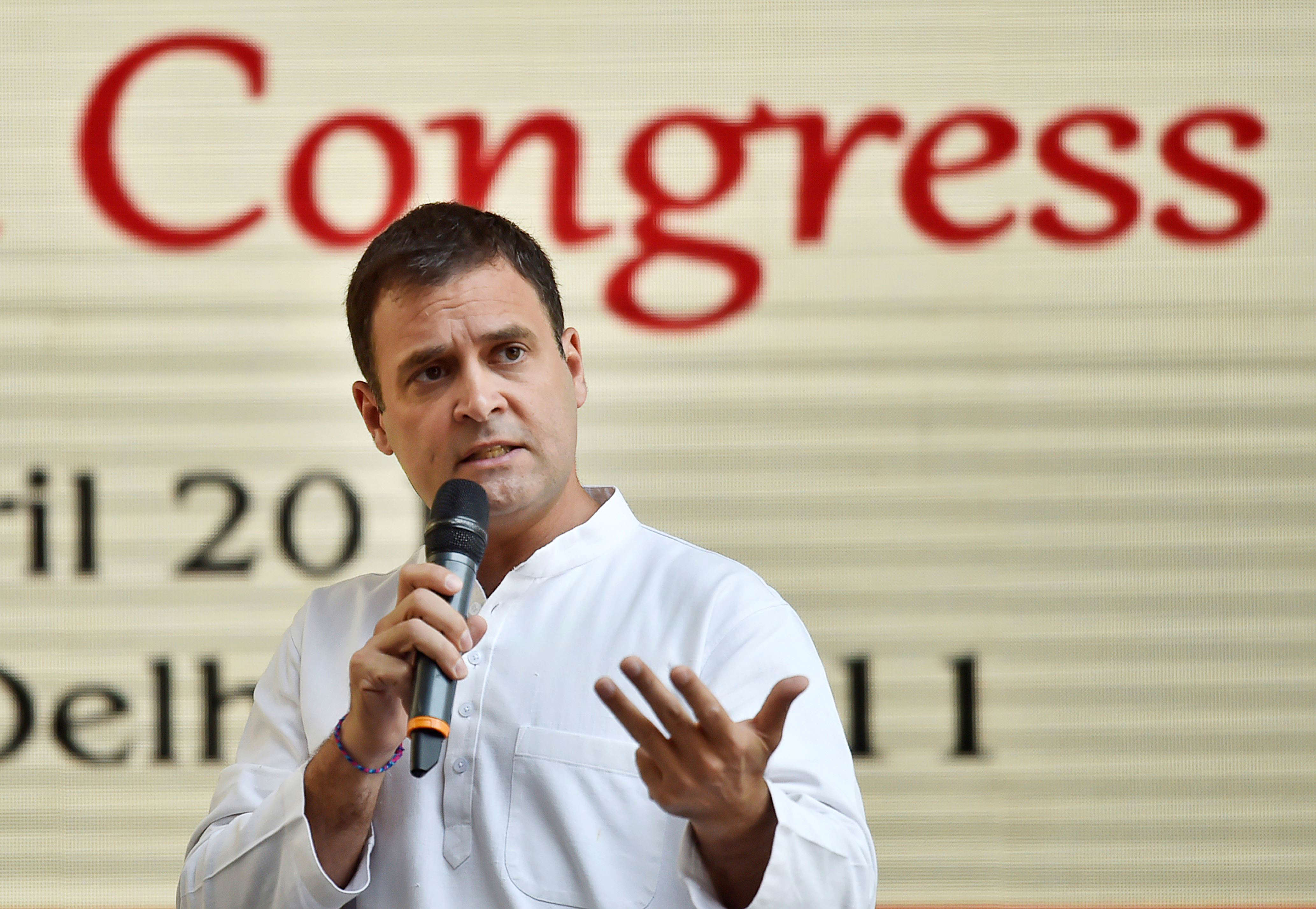 Slide 16 of 31: NEW DELHI, INDIA - APRIL 2: Congress President Rahul Gandhi addressing the media during release of Congress Party Manifesto 2019 for upcoming Lok Sabha election at AICC on April 2, 2019 in New Delhi, India. India's main opposition Congress party said it would expand an existing jobs programme to guarantee 150 days of work a year to rural households and provide additional help to farmers if the party wins a general election starting next week.(Photo by Ajay Aggarwal/Hindustan Times via Getty Images)