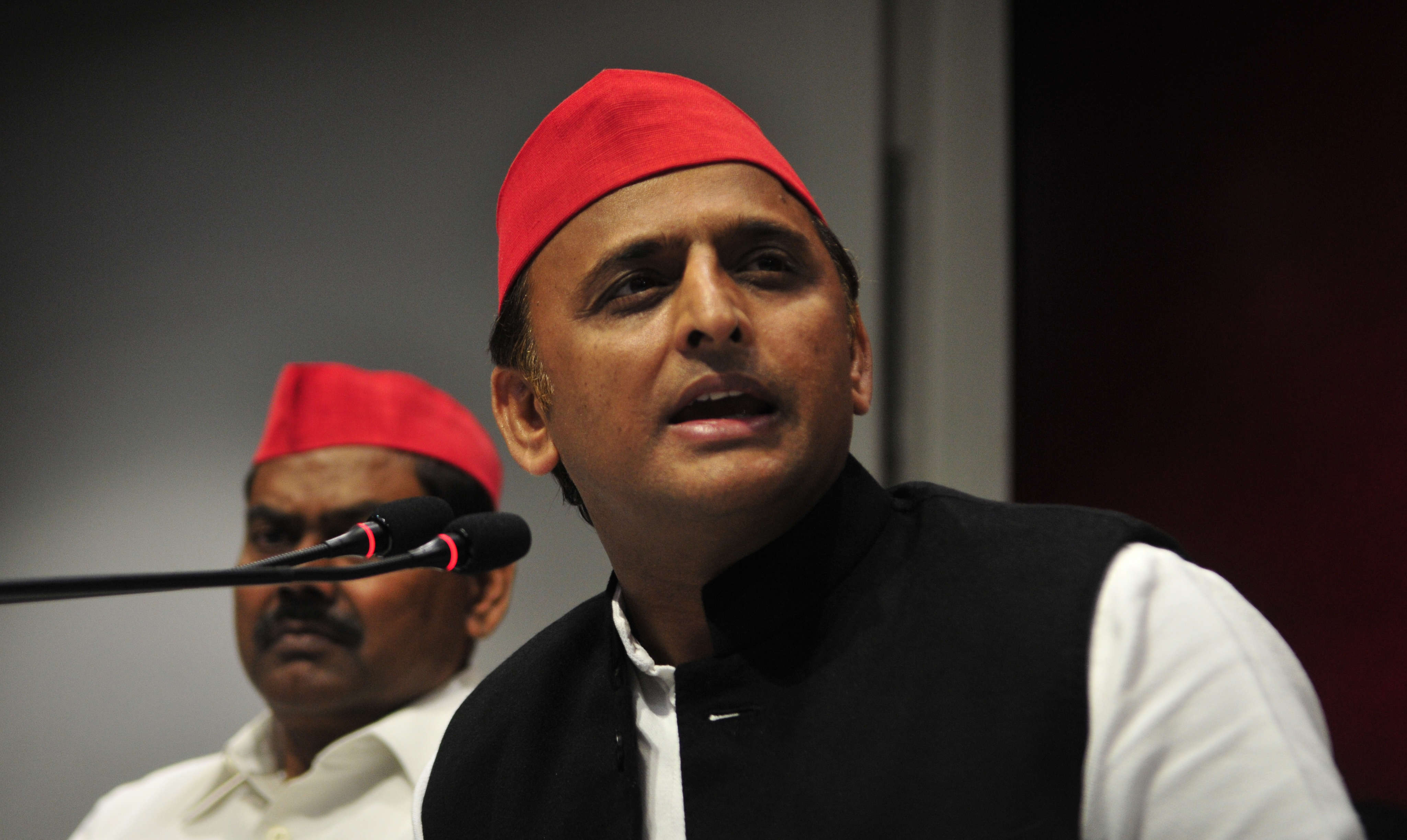 Slide 12 of 31: LUCKNOW, INDIA - FEBRUARY 12: National President of Samajwadi Party Akhilesh Yadav addresses a press conference after he was stopped by police at Chaudhary Charan Singh Airport to prevent him from attending Allahabad event, on February 12, 2019 in Lucknow, India. (Photo by Deepak Gupta/Hindustan Times via Getty Images)