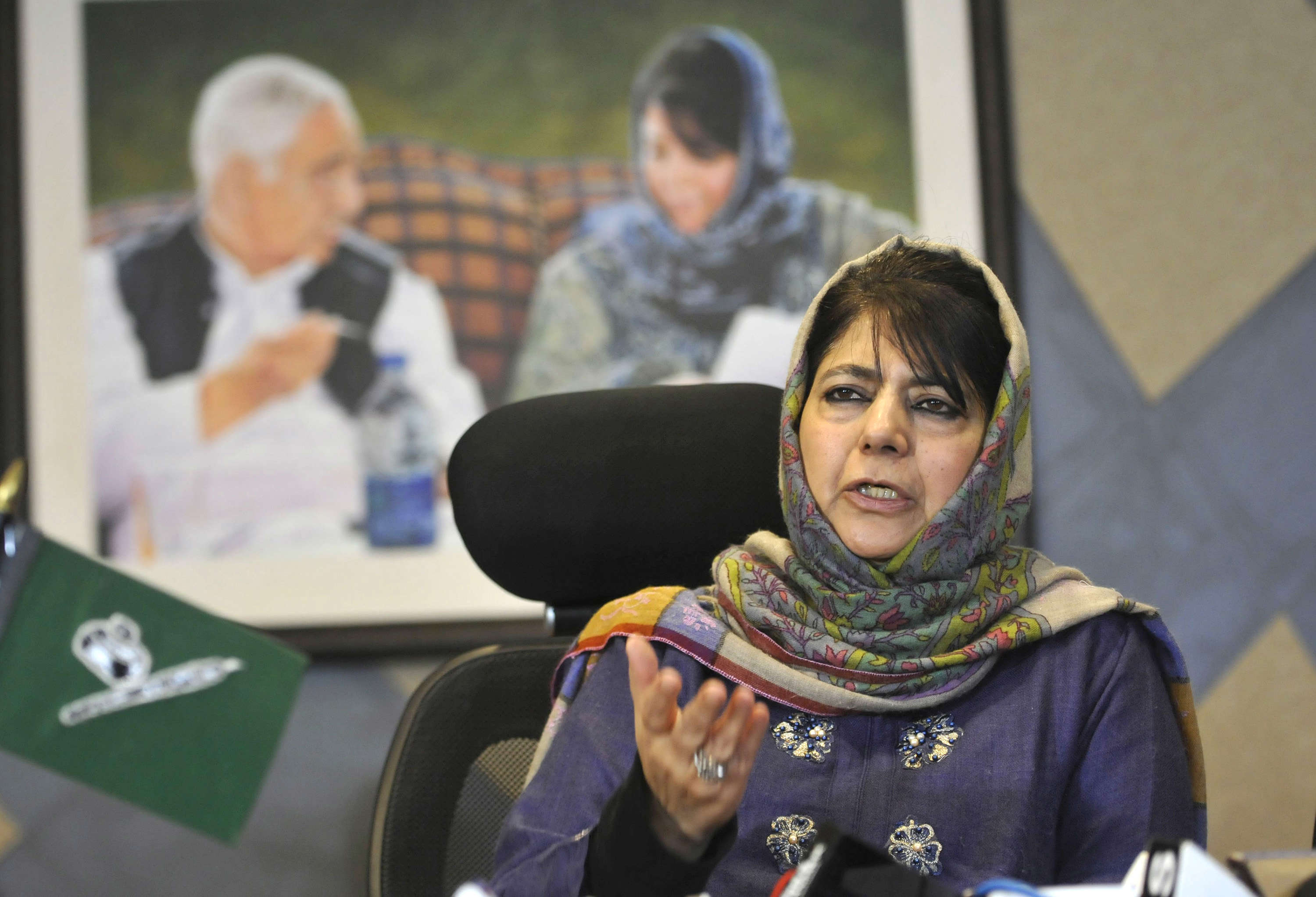 Slide 28 of 31: SRINAGAR, INDIA - FEBRUARY 13: Former Jammu and Kashmir chief minister and PDP chief Mehbooba Mufti during a press conference at her residence, on February 11, 2019 in Srinagar, India. Mehbooba Mufti said that the BJP is 'playing with fire' by trying to create a 'communal divide' in the state. She also alleged, BJP trying to break the Muslim majority character of the state. Your aim is to create a divide between Shia-Sunni, Gujjar-Pahari, Kashmiri-Pandits and many others. You are playing with fire.' (Photo by Waseem Andrabi/Hindustan Times via Getty Images)