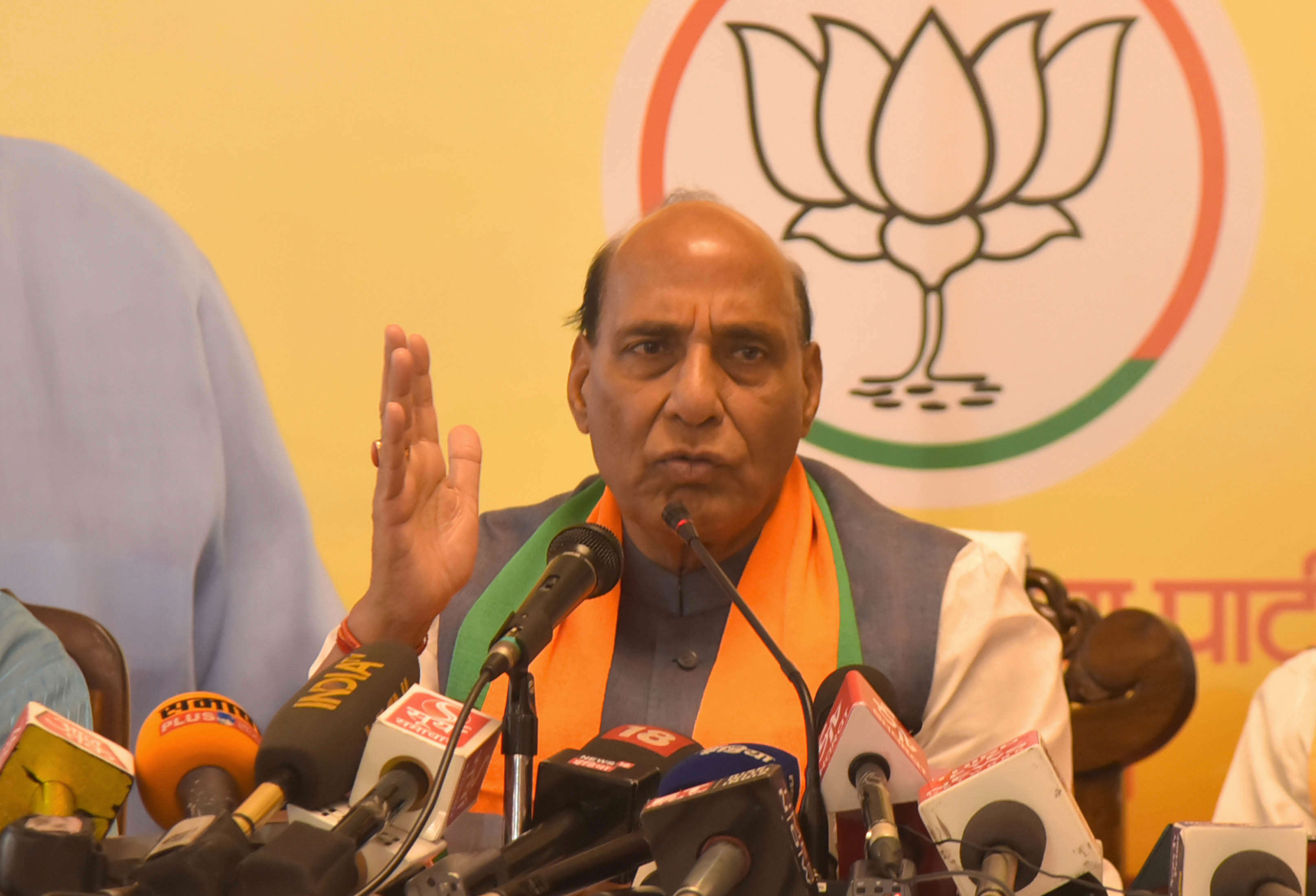 Slide 27 of 31: CAPTION: JAIPUR, INDIA - APRIL 22: Union Home Minister and senior BJP leader Rajnath Singh speaks to media during a press conference, on April 22, 2019 in Jaipur, India. Rajnath Singh said that Congress had made several promises but did not fulfil them and they should take lessons how to reduce poverty. Talking about the Balakot airstrike, he said India is not a weak country but a few people are questioning the number of terrorists killed in the February 27 airstrike. (Photo by Prabhakar Sharma/Hindustan Times via Getty Images)