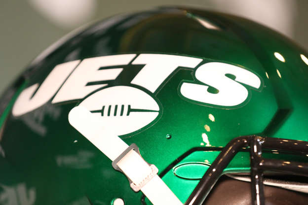 7627b75051d Football: Closeup of New York Jets logo on helmet during unveiling of new  uniforms and