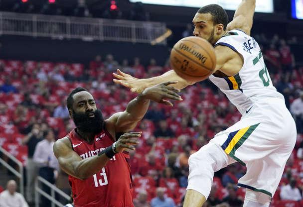 904e0484063 Houston Rockets guard James Harden (13) passes past Utah Jazz center Rudy  Gobert (
