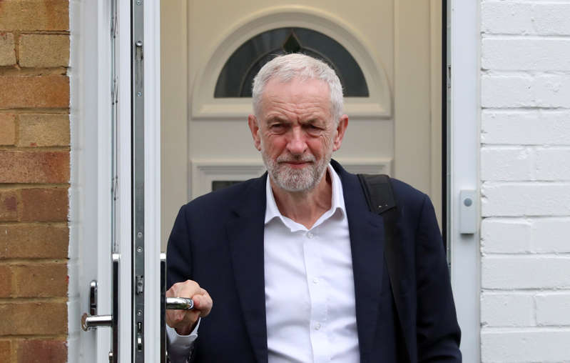 Britain's opposition Labour Party leader Jeremy Corbyn leaves his home, as Brexit uncertainty continues, in London, Britain April 8, 2019. REUTERS/Simon Dawson