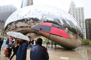 Some snow accumulation on the Cloud Gate sculpture on April 27, 2019 in Chicago, Illinois.
