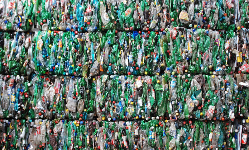 A file photo of compressed plastic bottles.