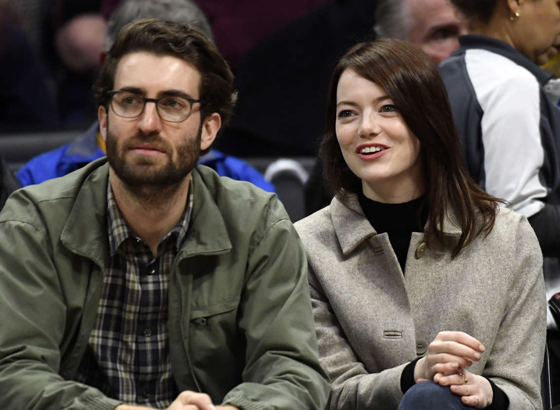Slide 4 of 68: LOS ANGELES, CA - JANUARY 18: Emma Stone and Dave McCary attend the Golden State Warriors and Los Angeles Clippers basketball game at Staples Center on January 18, 2019 in Los Angeles, California. NOTE TO USER: User expressly acknowledges and agrees that, by downloading and or using this photograph, User is consenting to the terms and conditions of the Getty Images License Agreement. (Photo by Kevork Djansezian/Getty Images)