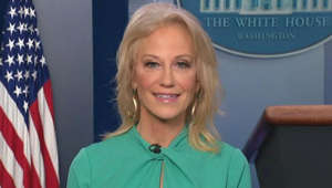 Kellyanne Conway in a striped shirt and smiling at the camera