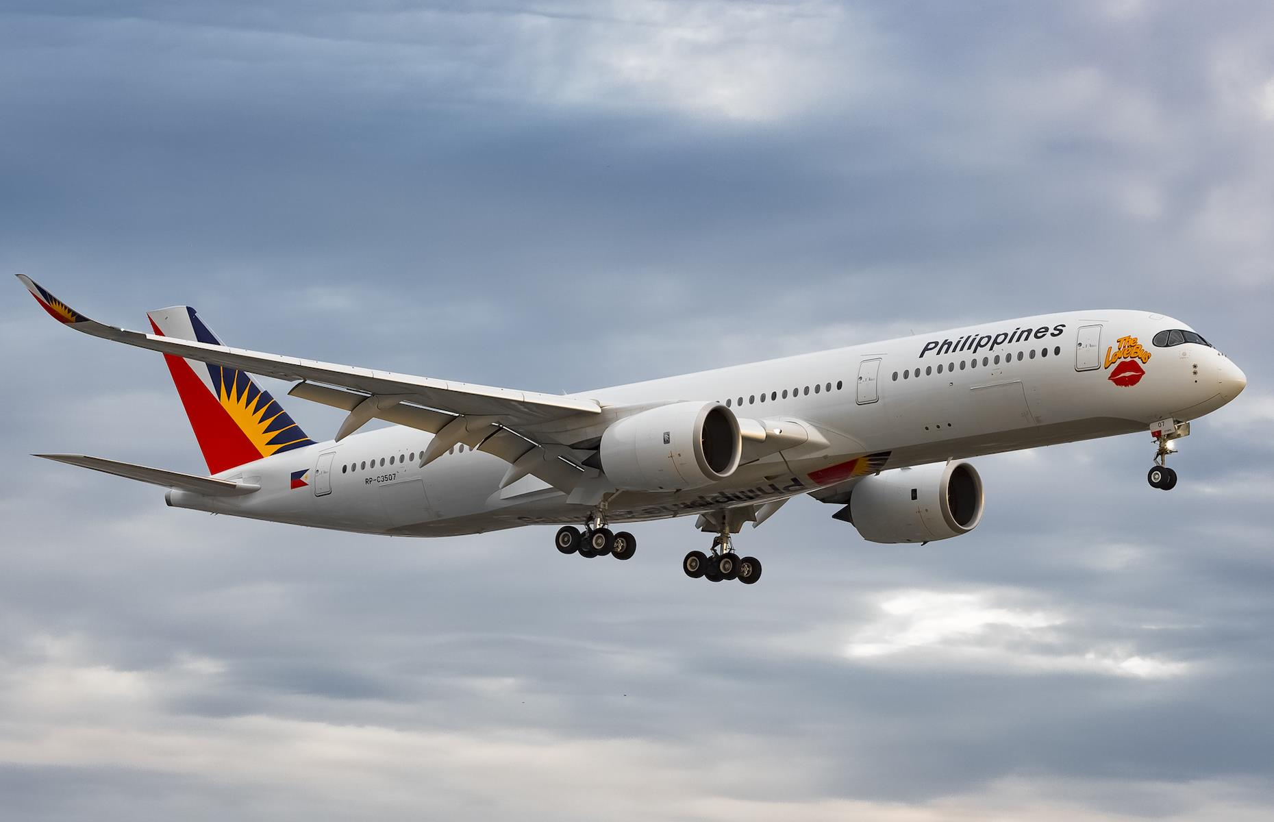 Slide 23 of 35: With more than 70 planes flying across routes between Asia, North America, Europe and the Middle East, Philippine Airlines celebrated its 40th anniversary of its partnership with Airbus in 2019 with a special Love Bus logo on one of itsplanes (pictured). Fittingly the airline received it from the manufacturer on Valentine's Day.  The world's most beautiful planes
