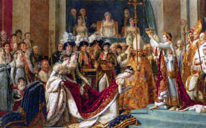 The Coronation of Napoleon (French: Le Sacre de Napoleon) is a painting completed in 1807 by Jacques-Louis David, the official painter of Napoleon, depicting the coronation of Napoleon I at Notre-Dame de Paris in 1804. (Photo by: Universal History Archive/Universal Images Group via Getty Images)