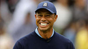 Tiger Woods wearing a baseball hat: INZAI, JAPAN - OCTOBER 21: Tiger Woods of the USA laughs and smiles during The Challenge: Japan Skins at Accordia Golf Narashino Country Club on October 21, 2019 in Inzai, Chiba, Japan. (Photo by Richard Heathcote/Getty Images)