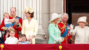Prince William, Duke of Cambridge, Prince Charles, Elizabeth II around each other