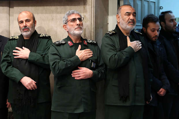 Slide 4 of 58: Qasem Soleimani's long-time lieutenant and the new leader of Quds Force Gen. Esmail Qaani (L2), Commander of the Iranian Revolutionary Guards Hossein Salami (R3), son of Qasem Soleimani, Mphammed Reza Soleimani (R2) attend a memorial for Qasem Soleimani, commander of Iranian Revolutionary Guards' Quds Forces, who was killed in a U.S. airstrike in Iraq, in Tehran, Iran on January 09, 2020.