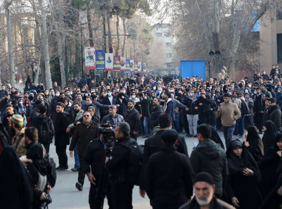 Slide 2 of 50: People take part in an anti-government protest organised by University of Tehran held after Iran
